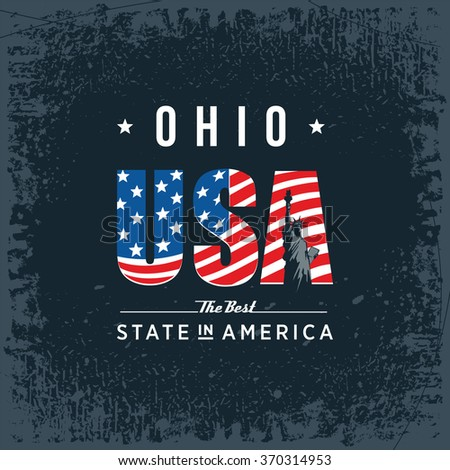 Ohio best state in America, black, vintage vector illustration