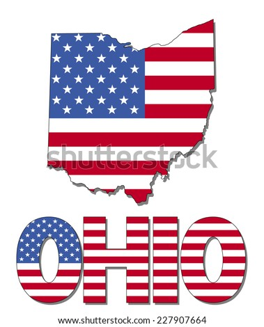 Ohio map flag and text vector illustration - stock vector