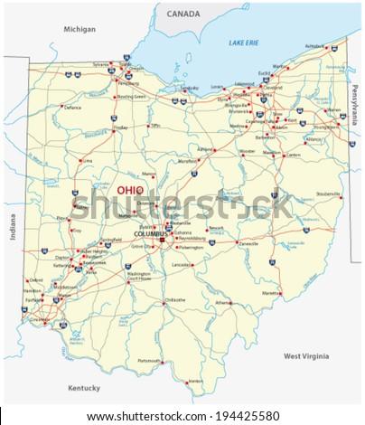 ohio road map - stock vector