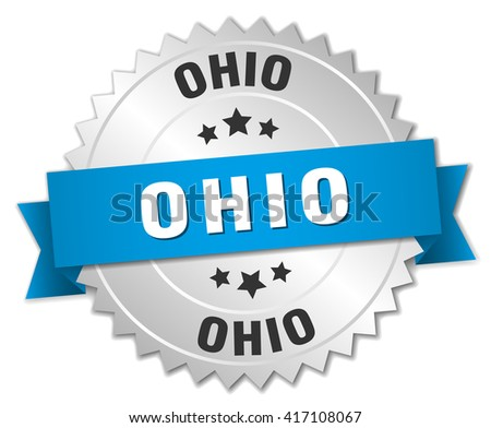Ohio round silver badge with blue ribbon