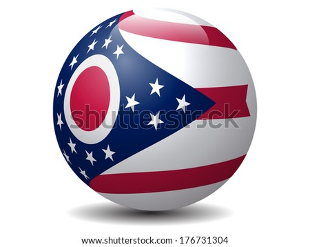 Ohio State Flag globe.Vector - stock vector