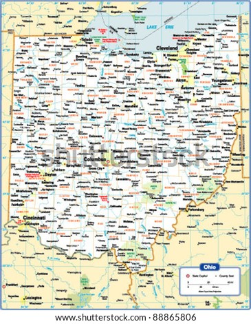 Ohio Map Stock Images RoyaltyFree Images Vectors Shutterstock - Map of state of ohio