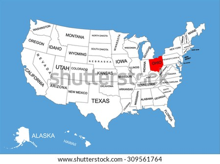 Ohio State, USA, vector map isolated on United states map. Editable blank vector map of USA. - stock vector