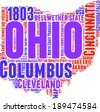 Ohio USA state map vector tag cloud illustration - stock photo