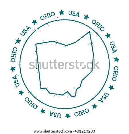 Ohio Vector Map Retro Vintage Insignia With Us State Map Distressed Visa Stamp With