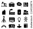 Oil and energy icon set in black - stock vector
