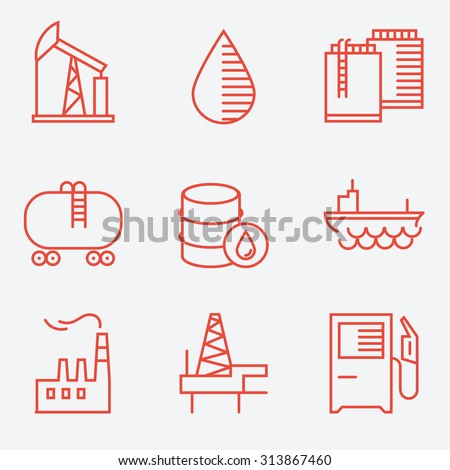 Oil and gas icons, thin line style, flat design - stock vector