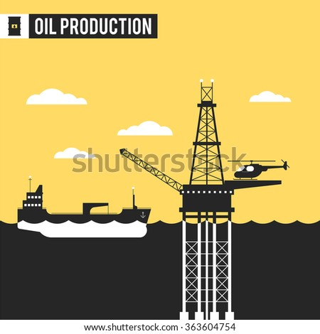 Oil and gas in the sea and ocean, landing on offshore oil refinery, tanker ship service moving oil and gas offshore platforms. Vector illustration - stock vector