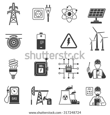 Oil and gas industry energy power production and transmitting symbols black icons set abstract vector isolated  illustration - stock vector