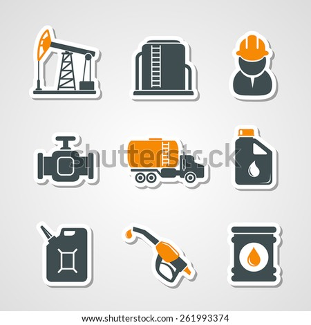 Oil and gas industry icons set - stock vector