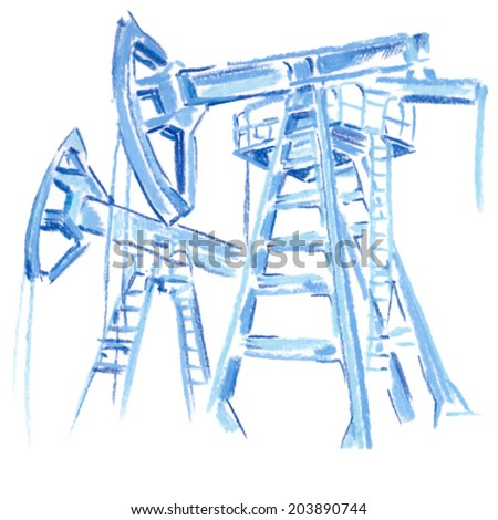 Oil and gas industry. Work of oil pump jack isolate on white  - stock vector