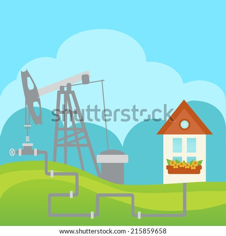 Oil and gas processing plant with pipe line valves and house - stock vector