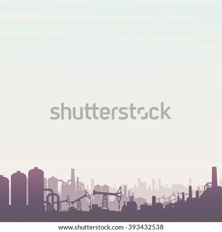 Oil and Gas Refinery. Panoramic Industrial Landscape with Pump Jack and Abstract Factory. - stock vector