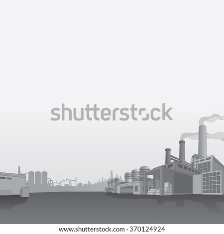 Oil and Gas Refinery. Petrochemical Factory. Oil Industry Vector Background - stock vector