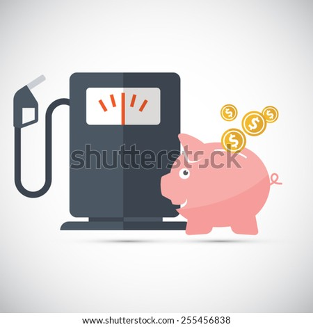 Oil and gasoline savings - Piggy bank  - stock vector