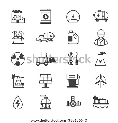 Oil and Industy Icons Line - stock vector