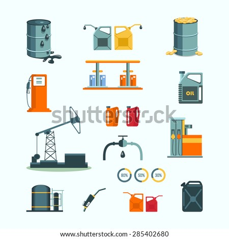 Oil and petrol industry vector objects  - stock vector