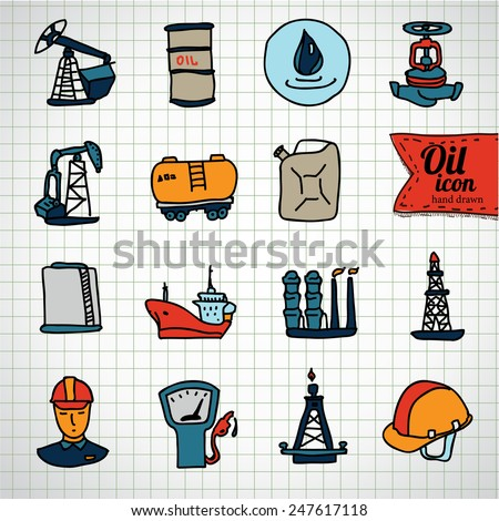 Oil and petroleum icon set, doodle illustration - stock vector