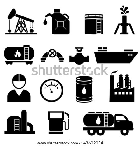 Oil and petroleum icon set in black - stock vector