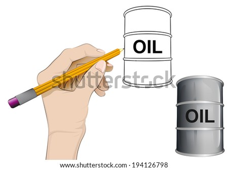 oil barrel as isolated human hand drawing vector illustration - stock vector