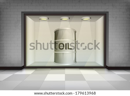 oil barrel in illuminated storefront vitrine vector concept illustration