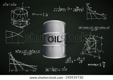 oil barrel on blackboard with math calculations vector illustration - stock vector