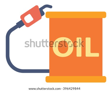 Oil barrel with gas pump. - stock vector