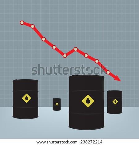 Oil barrels on Decline chart diagram background - stock vector
