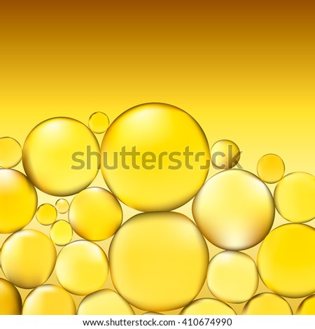 Oil bubbles background. Yellow water bubbles abstract light illumination. Vector. 3d illustration. Oil bubble vector. Oil background. Oil drops. Oil bubbles. Gold bubble. Oil vector. Oildrops vector. - stock vector