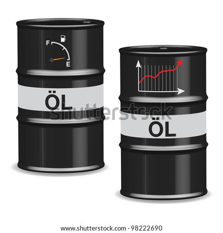 Oil crisis barrels on white background - German	 - stock vector