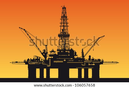 Oil derrick in sea for industrial design. Rasterized version also available in gallery - stock vector