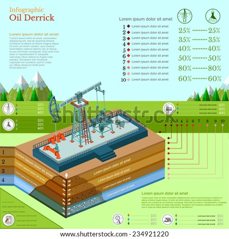oil derrick tower or gas rig infographic with landscape - stock vector