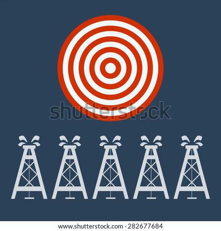 oil derrick under target, business concept - stock vector