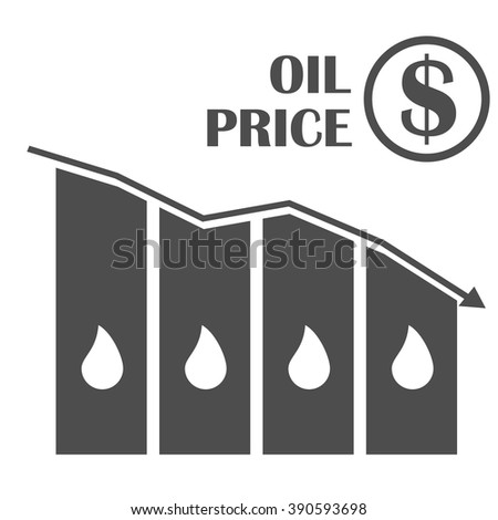 Oil down graphic . Vector concept illustration. Drop in oil prices. Oil infographics. Oil prices reduction crisis. - stock vector