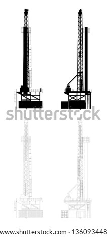 Oil Drill Silhouette | EPS10 Vector - stock vector
