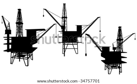 Oil Drilling Platform Vector 01 - stock vector