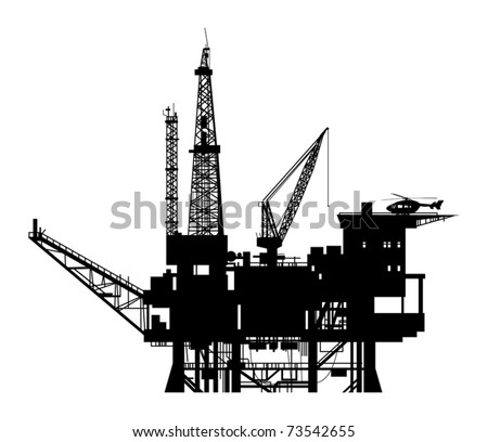 Oil drilling rig silhouette, vector illustration - stock vector