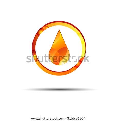 oil drop liquid vector yellow symbol illustration - stock vector
