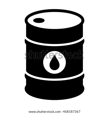 Oil drum container / barrel with sign flat icon for apps and websites