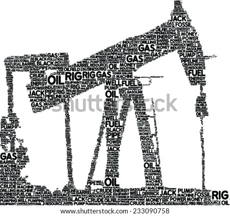 oil extracting pump vector tag cloud - stock vector