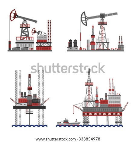 Oil extraction and petroleum platform flat icons set isolated vector illustration - stock vector