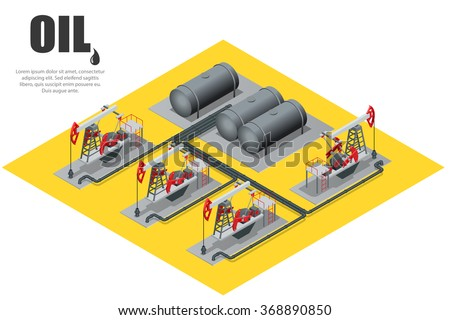 Oil field extracting crude oil. Oil pump. Oil industry equipment. Flat 3d Vector isometric illustration. - stock vector