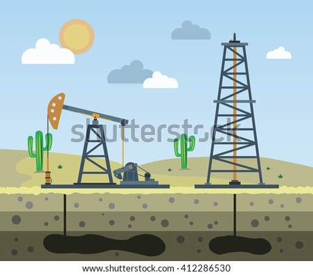 Oil field on the background of the desert. Vector illustration.