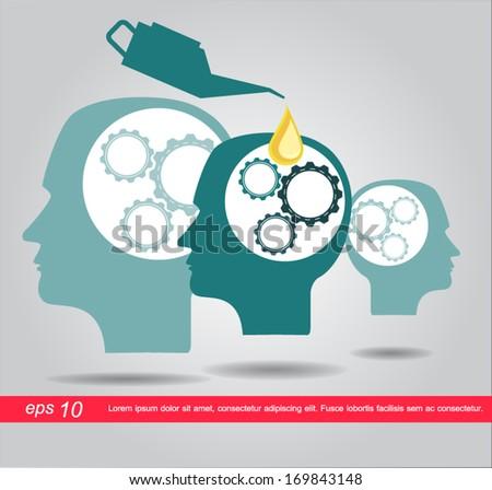 oil filling gear in head brain people - stock vector