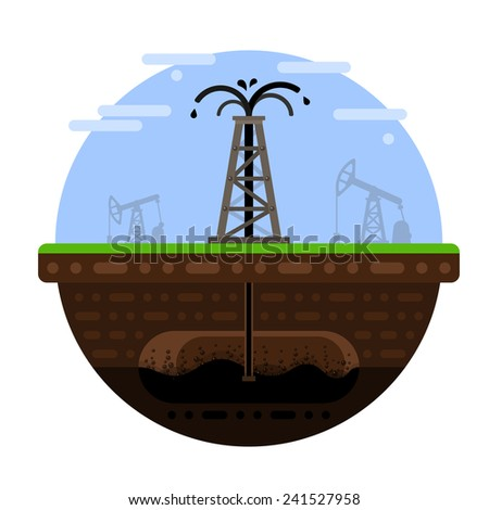 Oil fountain from a rig. Process of oil extraction from an oilfield. - stock vector