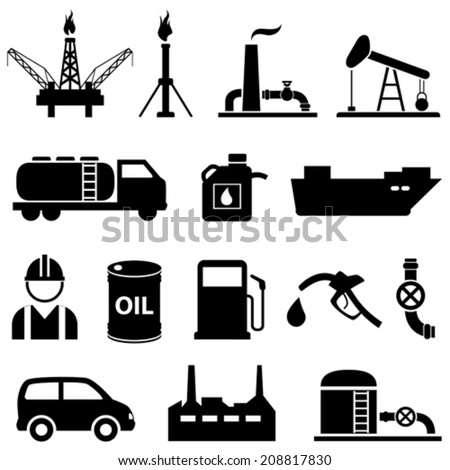 Oil, fuel, petroleum and gasoline icon set - stock vector