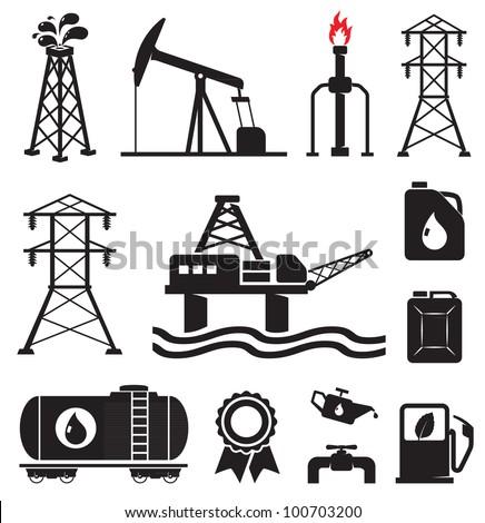 Oil, gas, electricity symbols - stock vector