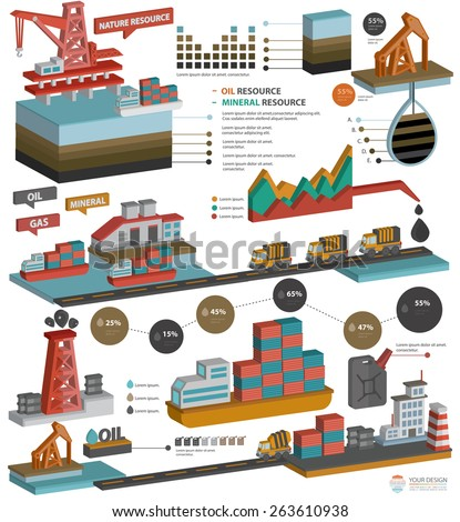 Oil,Gas industry,Mineral resource design for info graphic design on white background,three dimension design,clean vector - stock vector