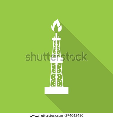 Oil, gas rig flat icon with long shadow. - stock vector