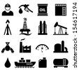 Oil, gasoline and petroleum related icon set - stock